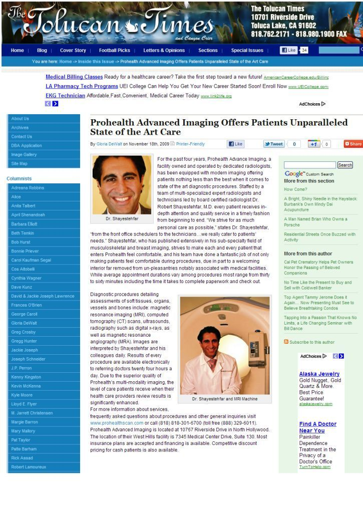 Tolucan Times: Prohealth Advanced Imaging Offers Patients Unparalleled State of the Art Care